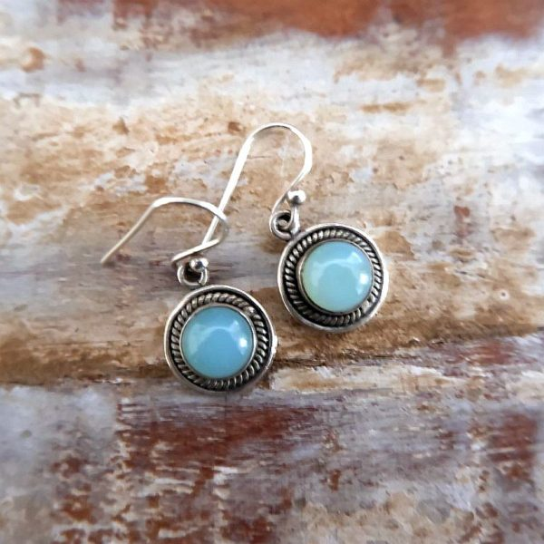 Zilveren oorbellen met Aqua Chalcedoon - Revelery