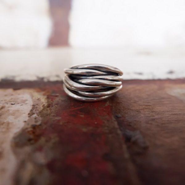 Brede zilveren ring - Spaghettiring