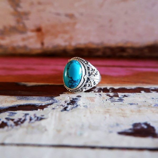 Zilveren ring met Turkoois steen