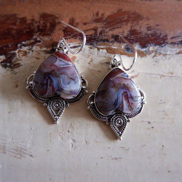 Zilveren oorbellen met Mexican Laguna lace Agaat